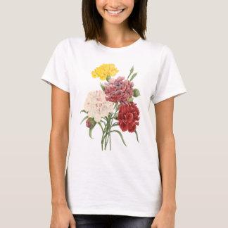 Vintage Carnations Dianthus Garden Flowers Redoute T-Shirt