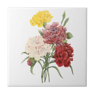 Vintage Carnations Dianthus Garden Flowers Redoute Tiles