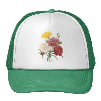 Vintage Carnations Dianthus Garden Flowers Redoute Trucker Hat