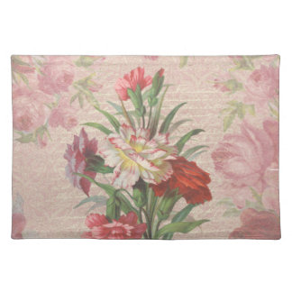 Vintage Carnations with Script Floral Background Cloth Placemat
