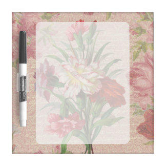 Vintage Carnations with Script Floral Background Dry-Erase Board