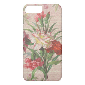 Vintage Carnations with Script Floral Background iPhone 7 Plus Case