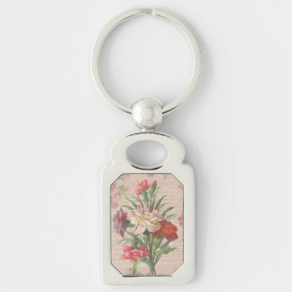 Vintage Carnations with Script Floral Background Silver-Colored Rectangular Metal Keychain