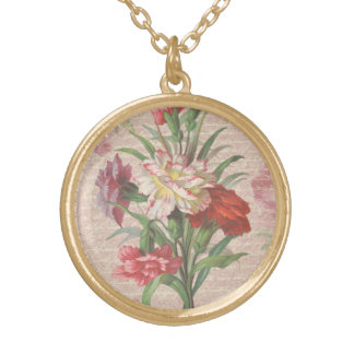 Vintage Carnations with Script Floral Background Round Pendant Necklace
