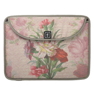 Vintage Carnations with Script Floral Background Sleeve For MacBook Pro