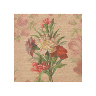 Vintage Carnations with Script Floral Background Wood Wall Art