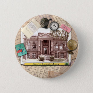 Vintage Carnegie Library Superior Wisconsin Pinback Button