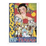 Vintage Carnival 1937 Panama Travel Poster Postcards