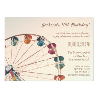 Vintage Carnival Ferris Wheel Kids Birthday Party Card