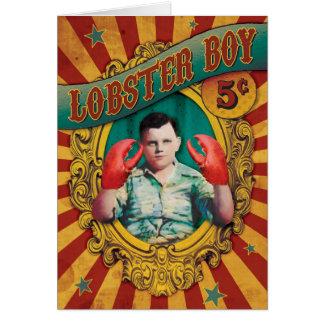 Vintage Carnival Freak Show Lobster Boy Greeting Card