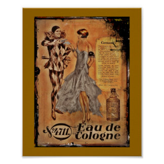 Vintage Carnival French Cologne Poster