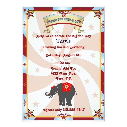 vintage carnival or circus birthday invitation
