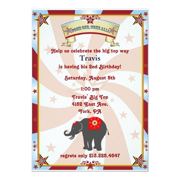 vintage carnival or circus birthday invitation
