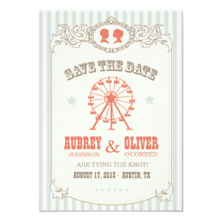 Vintage Carnival Save the Date 5x7 Paper Invitation Card
