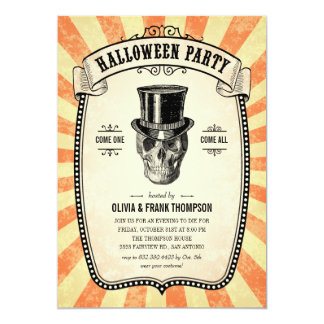 "Vintage Carnival Show Halloween Invitations 5"" X 7"" Invitation Card"