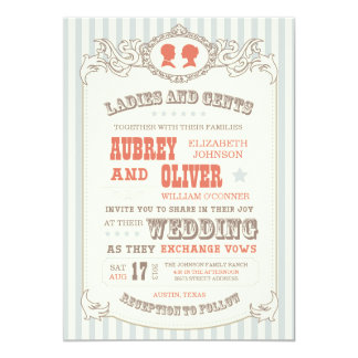 Vintage Carnival Wedding Invitation