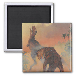 Vintage Carnotaurus Dinosaurs Roaring in Jungle 2 Inch Square Magnet
