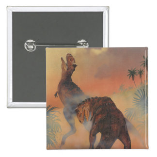 Vintage Carnotaurus Dinosaurs Roaring in Jungle 2 Inch Square Button