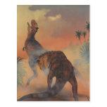 Vintage Carnotaurus Dinosaurs Roaring in Jungle Post Card