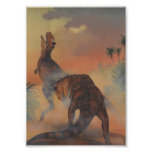 Vintage Carnotaurus Dinosaurs Roaring in Jungle Print