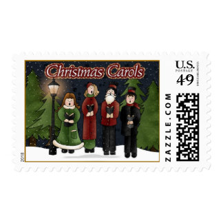 Vintage Carolers Christmas Postage Stamps