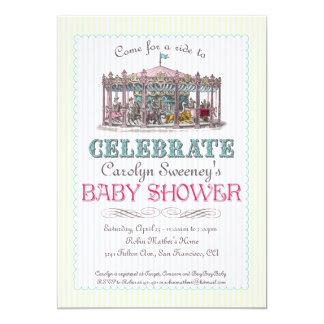 Vintage Carousel Baby Shower Invitation