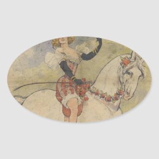 Vintage Carousel Horse Oval Sticker