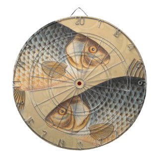 Vintage Carp Freshwater Fish Drawing Dart Board