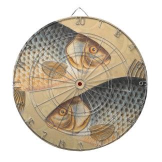 Vintage Carp Freshwater Fish Drawing Dart Board