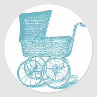 Vintage Carriage Baby Boy Shower Stickers