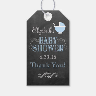 Vintage Carriage Chalkboard Look Blue Baby Shower Gift Tags