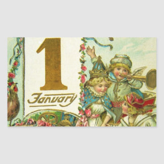 Vintage Carriage for New Year Rectangular Sticker