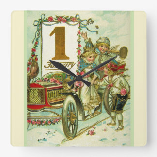 Vintage Carriage for New Year Square Wallclocks