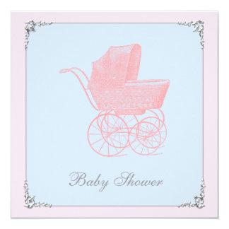Vintage Carriage Pram Gender Neutral Baby Shower 5.25x5.25 Square Paper Invitation Card