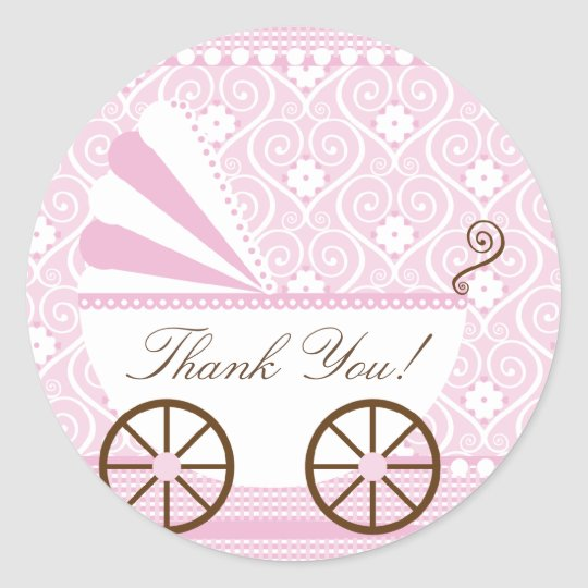Vintage CarriageThank You Baby Shower Sticker