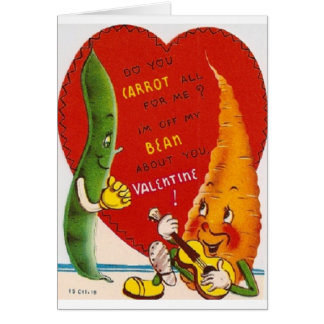 Vintage Carrot And Bean Valentine's Day Card