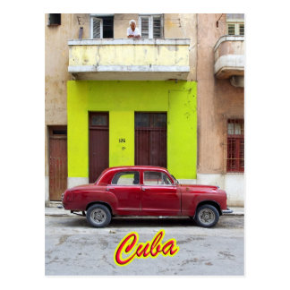 Vintage cars and old facades, Havana, Cuba Postcard