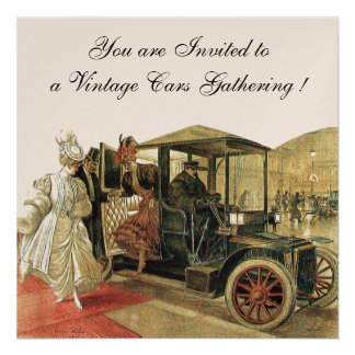 VINTAGE CARS AUTO RESTORATION Red White Champagne Personalized Invitations