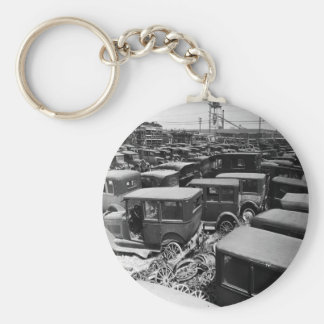 Vintage Cars Basic Round Button Keychain