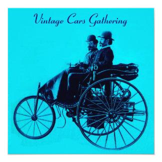 ViNTAGE CARS GATHERING blue turquase Card