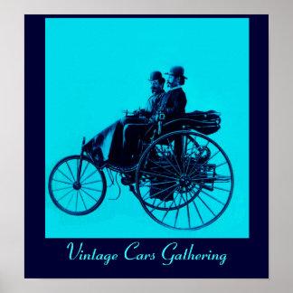 Vintage Cars Gathering , blue urquase Poster