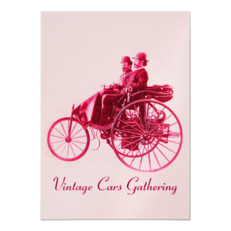 ViNTAGE CARS GATHERING ,gold red fuchsia pink Card