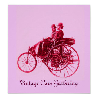 Vintage Cars Gathering ,pink fuchsia red violet Poster