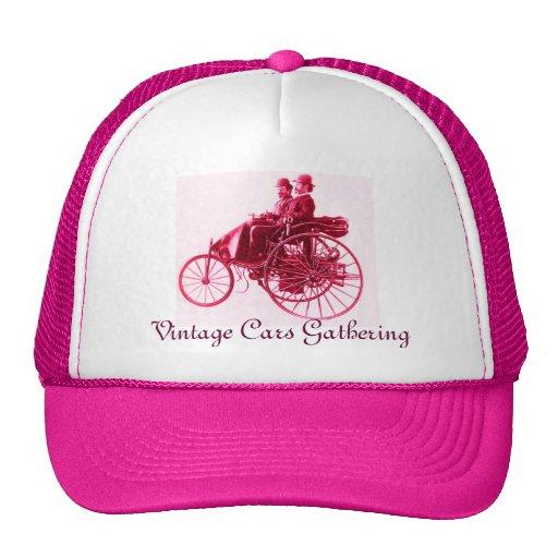 Vintage Cars Gathering , pink fuchsia Trucker Hat