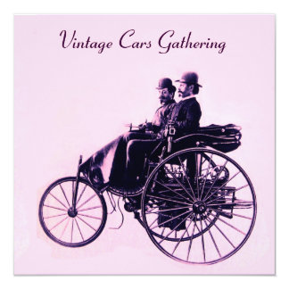 ViNTAGE CARS GATHERING , pink purple Card