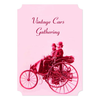 VINTAGE CARS GATHERING  Pink Red Fuchsia Card