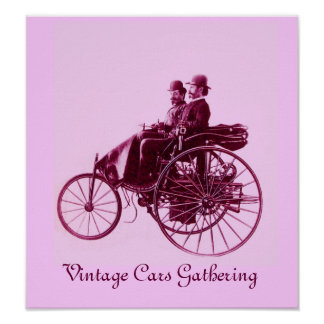 Vintage Cars Gathering ,pink violet purple Poster
