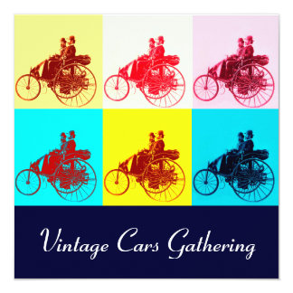 ViNTAGE CARS GATHERING POP ART Card