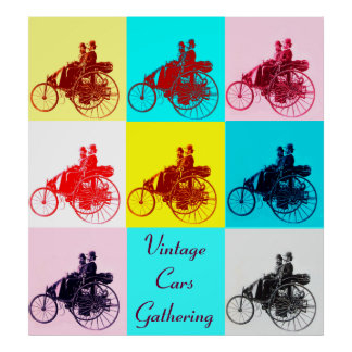 ViNTAGE CARS GATHERING POP ART Poster