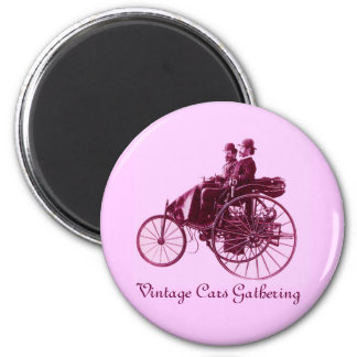 Vintage Cars Gathering , purple  pink violet white 2 Inch Round Magnet